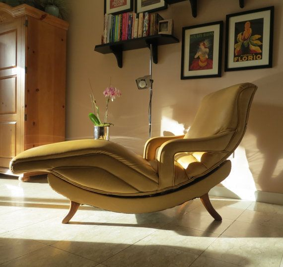 Mid Century Modern Contour Lounge Chair - Reclining Massage Chair - Recliner - Gold Dijon Mustard Color This stunning Mid Century Modern