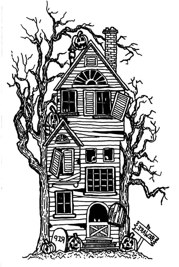 Cartoon Haunted House Coloring Page Az Coloring Pages Creepy