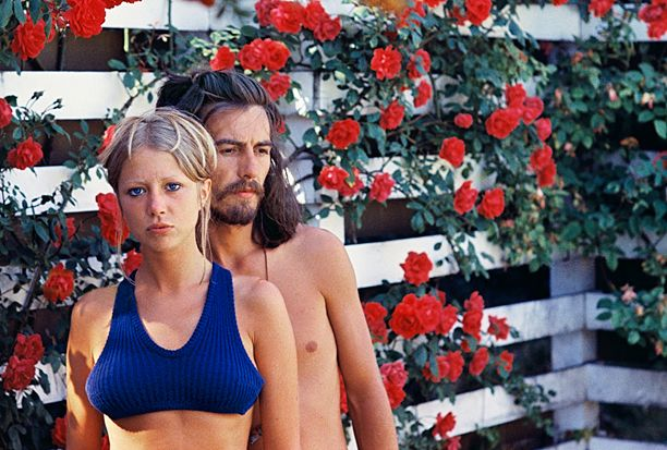 Pattie Boyd, George Harrison   ''This is when George and I lived in a house in Esher, Surrey, England. I had been waiting all spring for these gorgeous roses to…