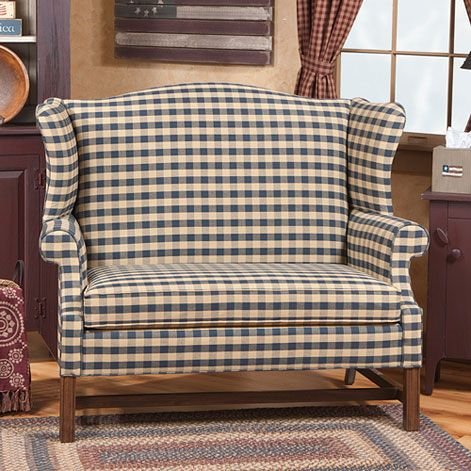 Wingback Settee, comes in a variety of fabric options | Irwins