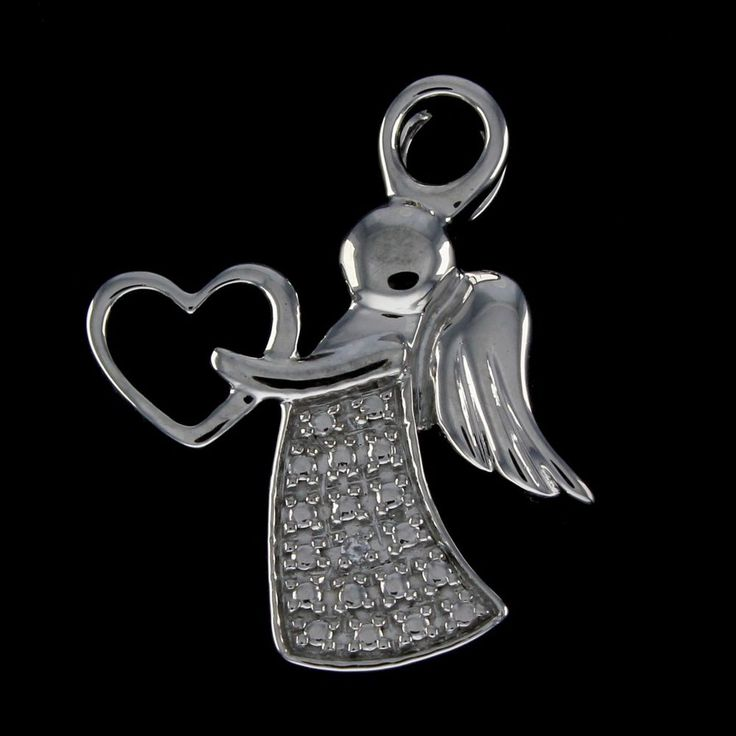 18K White Gold Plated Round VVS Diamond Angel with Heart Pendant #findingsnjewelry #AngelwithHeartPendant