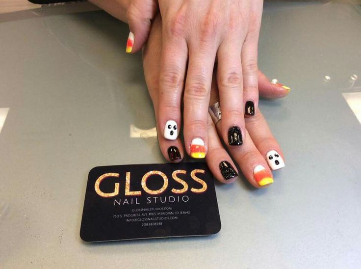 Spooky Halloween Nails  by Angie Heinemann  Gloss Nails:  Schedule an appointment today  (208)887-8548
