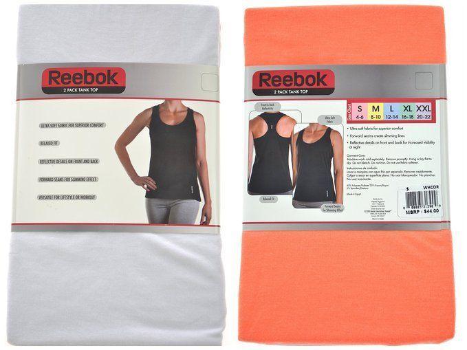 Reebok Ladies Size Large 2-Pack Ultra Soft Tank Tops, White/Orange