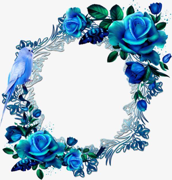 Blue Flowers Wreath Blue Flower Wreath Flower Frame Butterfly Wedding Invitations
