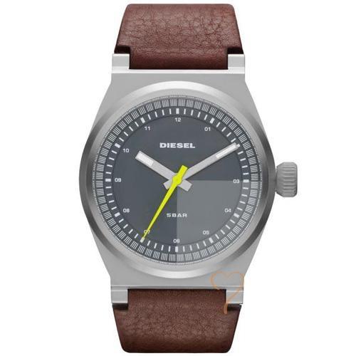 Ρολόι Diesel Turbo Unisex Grey Dial Brown Leather Strap - BeMine.gr