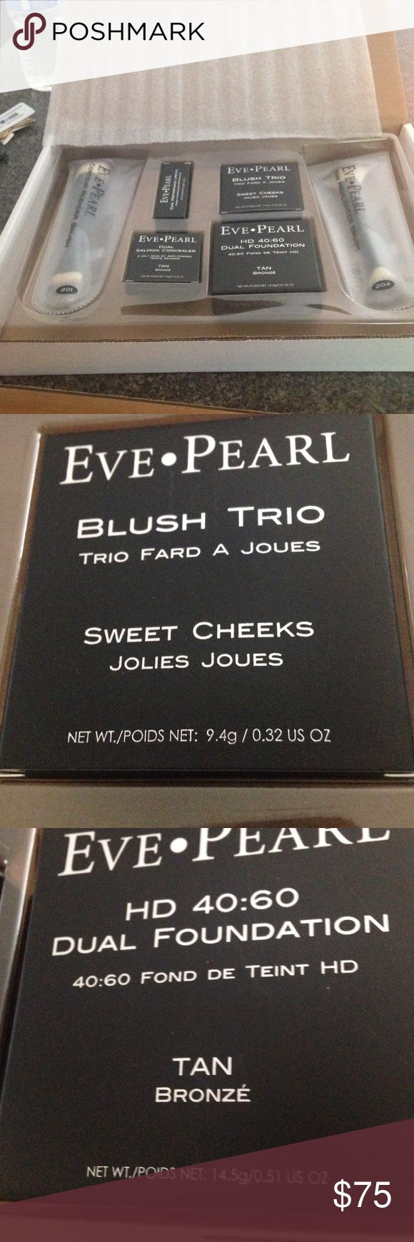Eve Pearl as sold on QVC. Tan. New. Fantastic deal! Dual Salmon Concealer. Park Ave Rose Lipstick, foundation, Blush trio, and two brushes. This is truly a bargain! Eve Pearl.  Makeup