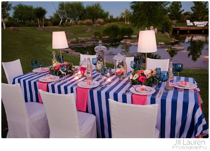 Mary Poppins inspired wedding.  Coral pink and navy wedding.  Stripes and ruffles.  Lamp centerpieces.  ~BTS Event Management