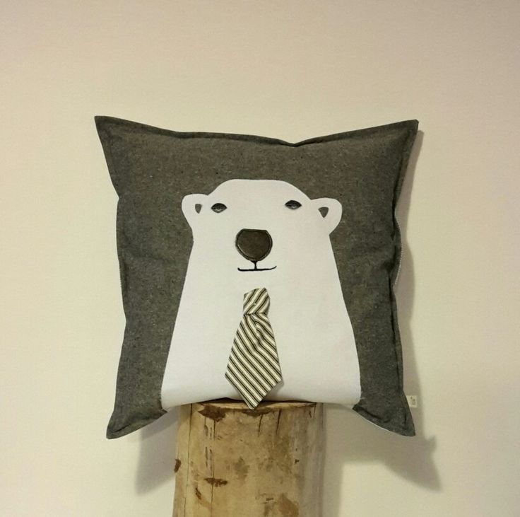 Mr Polar Bear cushion. Wool filled, applique on linen. Very dapper fellow. Made especially for 'Perriam Home' www.perriam.co.nz