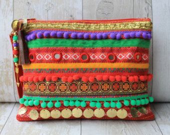 Turquesa y púrpura étnica floral adornado bolso de por RENIQLO