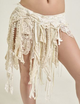 Beige White Tribal Fusion Belly Dance Belt