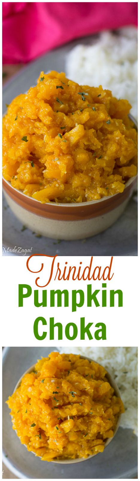 Pumpkin Choka - An easy recipe for seasoned, mashed pumpkin dish, traditionally severed as a side with roti. www.homemadezagat.com