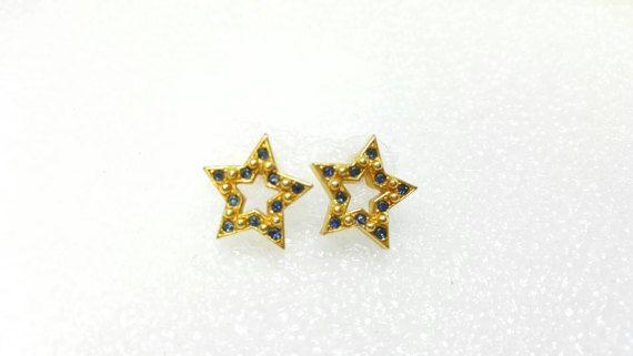 Avon Gold Tone Pierced earrings Sparkle Star Blue 1994 Mint Never worn #etsyseller #lucylucylemoncoupons