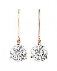 2.50ctw Round Brilliant Forever Classic™ Moissanite Earrings, 14k Rose Gold