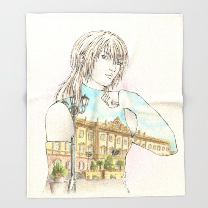 OC: Agnese x Sassari Throw Blanket #Society6 @society6 #manga #mangastyle #oc #originalcharacter #comics #illustrazione #illustration #blanket
