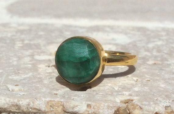 Emerald 18 kt Gold Vermeil Bezel Set Ring  Gemstone от LavantaBay, £36.00