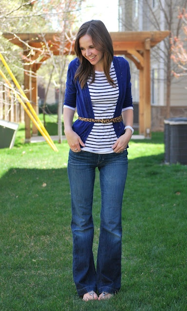 solid cardigan + striped 3/4 sleeve top + skinny neutral-tone belt