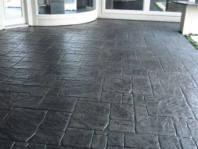stamped concrete patterns | Stamped concrete, ashlar pattern with Charcoal as the color
