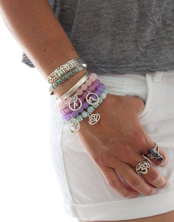 PASTELS- 4 Elastic beaded stretch stackable bracelet Yoga inspired Bohemian Om Buddha Lotus Flower Yogi charms by Inali