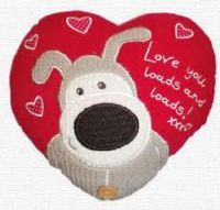 "£9.99 - Boofle Heart Shaped Cushion Love You Loads And Loads  Boofle heart shaped red cushion that says ""Love you loads and loads!"".  Approximately 9"" by 10"".  Made from 53% Cotton and 47% Acrylic. Stuffed with polyester fibres."