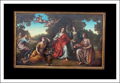 Dipinto olio su tela raffigurante Allegoria di primavera Epoca XVIII Secolo.