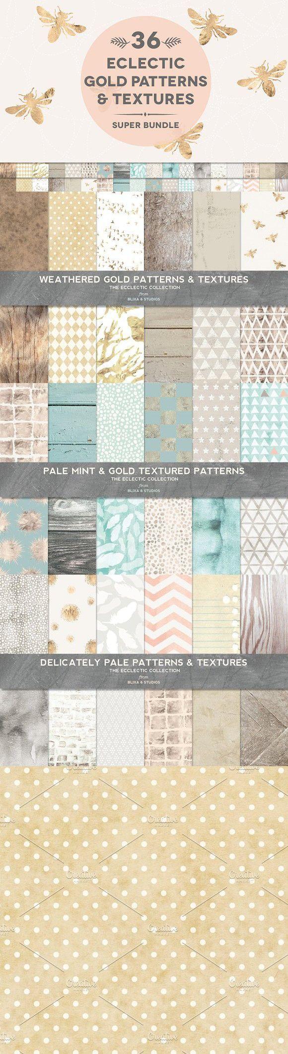 36 Gold & Weathered Texture Bundle. Patterns