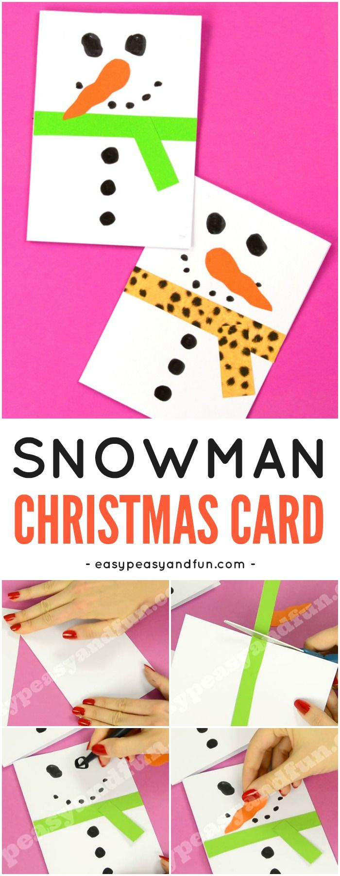 DIY Snowman Christmas Card Idea for Kids to Make. Fun Christmas Paper Craft for Kids. #Christmascraftforkids #DIYChristmascardideas #papercraftsforkids