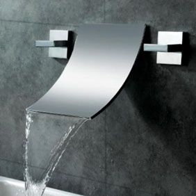 Waterfall Widespread Contemporary Bathroom Sink Faucet Chrome Finish T6014a
