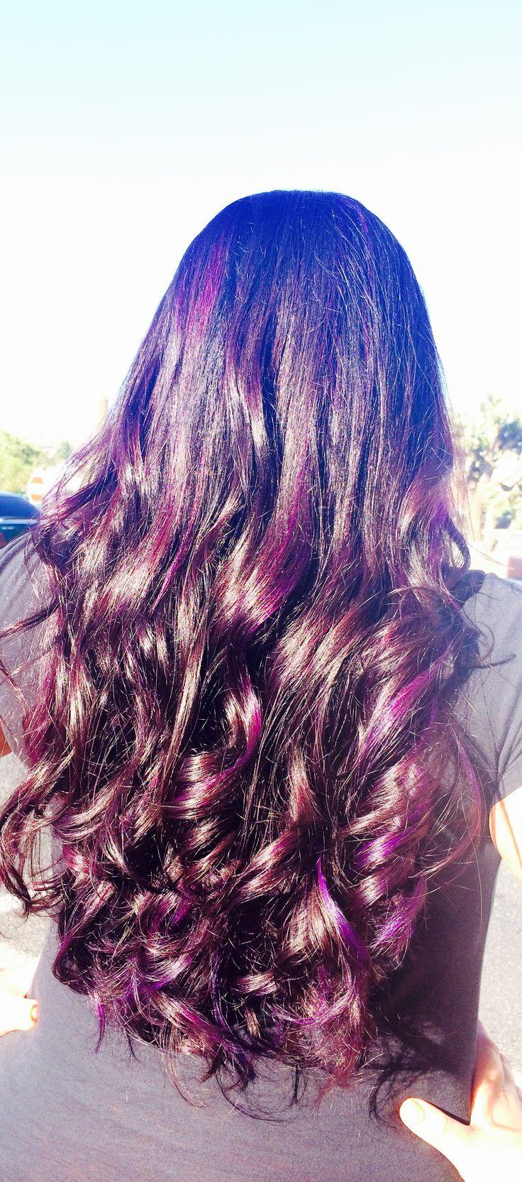 Purple Peek A Boo Highlights On Dark Hair Love It Hair