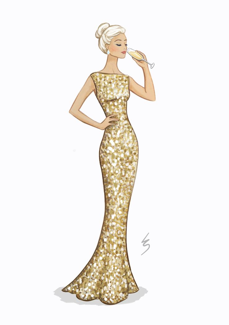 Lydia Snowden Illustration. Fashion Illustration. Champagne gold sequin evening gown.
