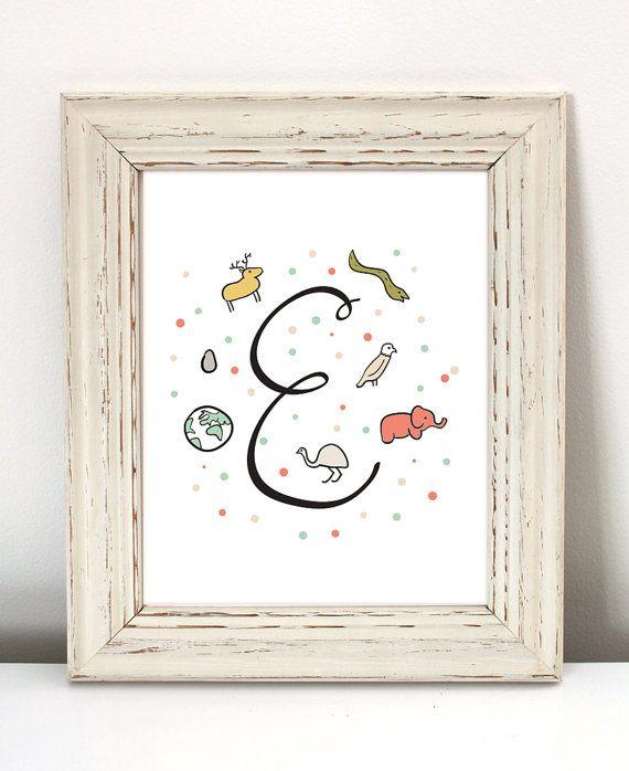 Lettre E Initial pépinière - téléchargement immédiat - pépinière initiale estampes, art nom bébé, art de la lettre, illustration de la pépinière, art de la calligraphie