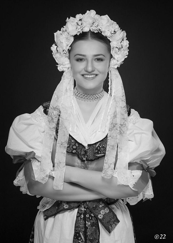 Bride in folk costume from Turiec area in Slovakia