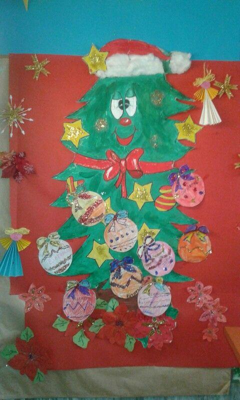 Albero di natale dipinto dai bambini