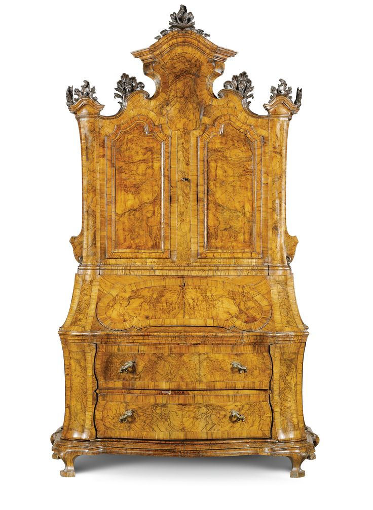 An Italian walnut and burr walnut bureau-cabinet, Emilian, after Venetian models,mid 18th century.