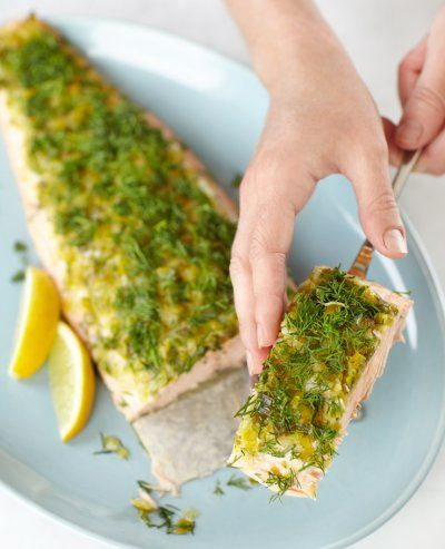 Olive oil and dill on baked salmon. Photo by Steve Krug