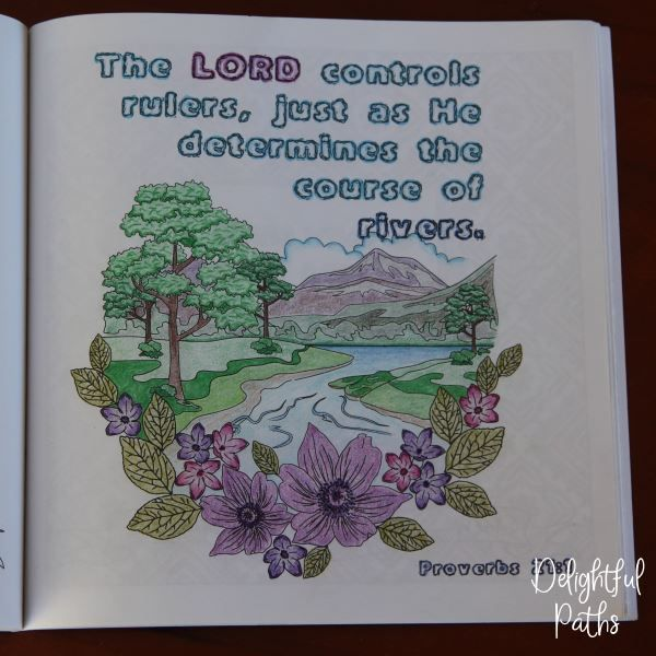 Proverbs adult coloring book from Delightful Paths Proverbs 21:1 CEV
