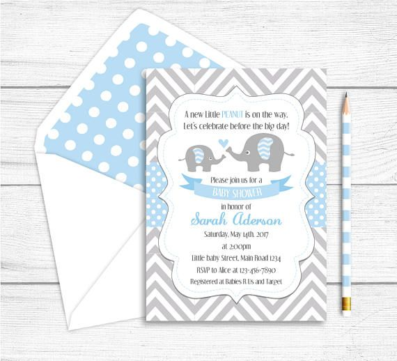 Printable Elephant Baby Shower Invitation Elephant Party