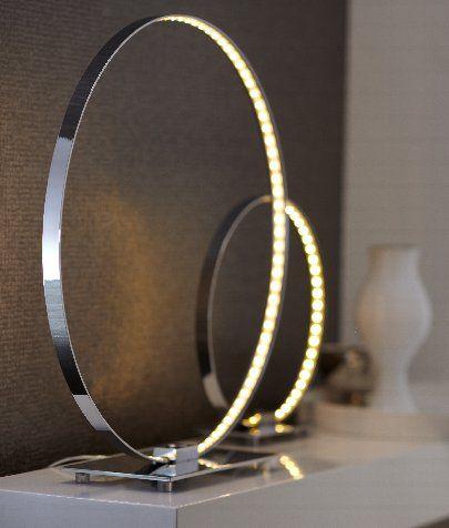 EPI LUMINAIRES : lampe à poser COSMO (diamètre 30cm) avec sphère en métal chromé et ruban LED. Commande tactile à éclairage variable. A découvrir chez EPI Luminaires. Une sélection de la rédaction de source-a-id.com.