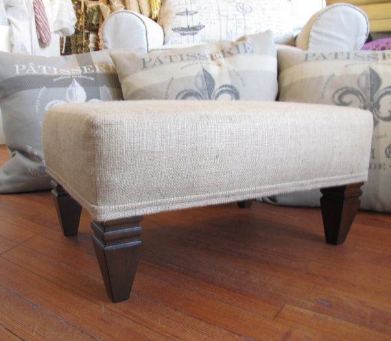 ottoman footstool coffee table burlap furniture by pineconeshoppe, $249.00