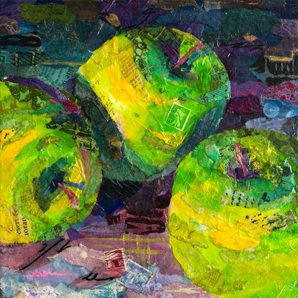 Torn paper collage paintings Althea Sassman Green Apples