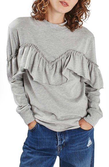 Topshop Jersey Ruffle Sweatshirt available at #Nordstrom