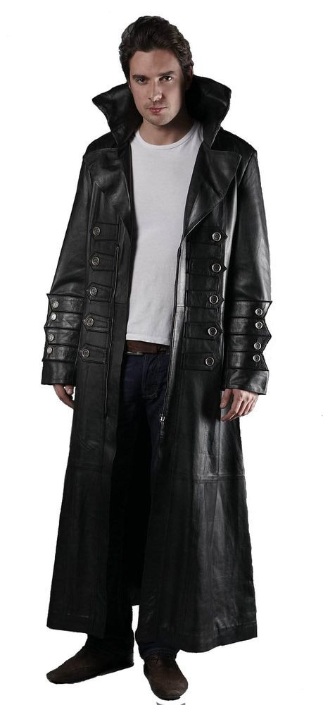 Mens 100% Pure Leather Goth / Steampunk Gothic Van Helsing Matrix Trench Coat  #TrenchCoatsMacs