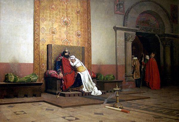 L'excommunication de Robert Le Pieux par Jean-Paul Laurens, 1875, Musée d'Orsay. En réalité, l'excommunication du roi n'a jamais été promulguée par le pape.