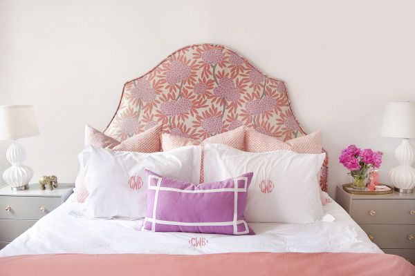 monogrammed + a Caitlin Wilson fabric headboard = heaven  Photography by http://www.courtneyapple.com/, Styling by http://caitlinwilsondesign.com/index2.php#/home/