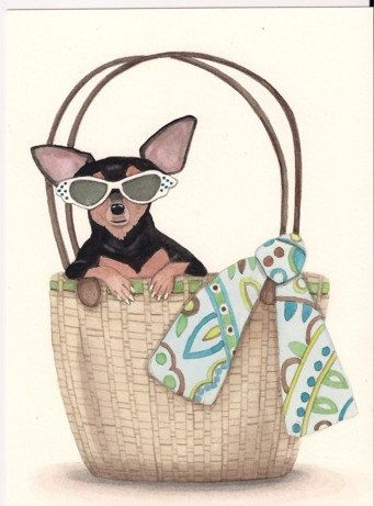 Black and tan chihuahua in a Purse / Lynch by watercolorqueen