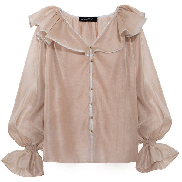 Anna October Ruffled Blouse ($430) ❤ liked on Polyvore featuring tops, blouses, neutral, flutter sleeve top, sleeve blouse, brown blouse, cut out sleeve top and peasant blouse