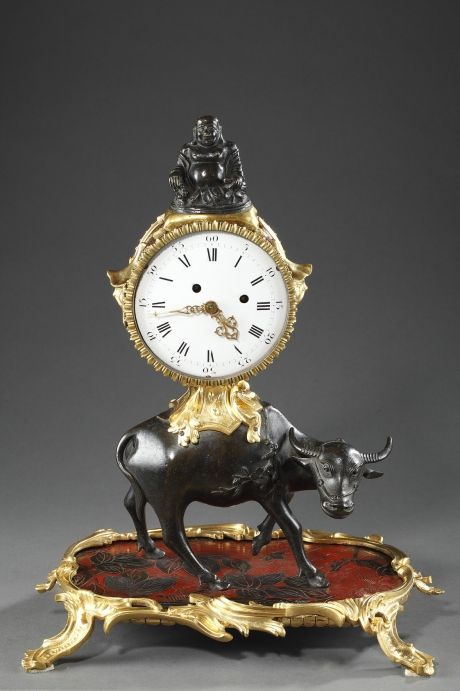 louis xv gilded and patinated mantel clock with bull c 1760 - Mantel Der Ideen Mit Uhr Verziert