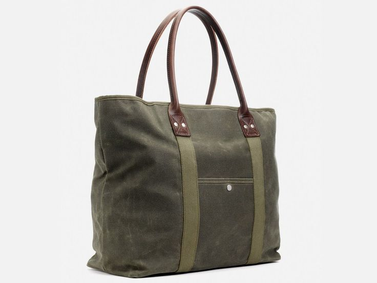 BillyKirk No. 296 Large Waxed Canvas Tote, Olive Waxed