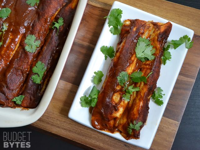 ... Green Chile Enchiladas - Budget Bytes Homemade enchilada sauce in the