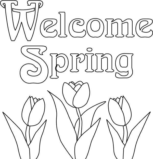 spring welcome coloring to print