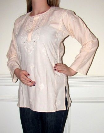Our wide selection of Ladies Misses and Petite #designer #Tops / #Tunics in #Cotton features this Pretty Peachy Cream Cotton #Tunic #Top with embellishment and #embroidery on #sale at #YoursElegantly. This top is styled to make a perfect tunic fit, hip covering, long sleeves, all over delicate accents so it can be worn #casual or even for evening wear in spring summer and all through fall.  Price: $34.99  Product No: 5244 Click this and buy: http://goo.gl/X63Gqx